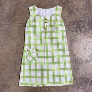 60s Mid Mod Lime Plaid Mini Shift Dress